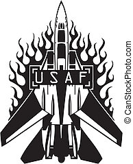 kraft, -, os, luft, militær, design.