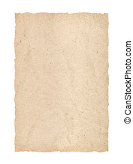 kraft, página, con, rasgado, bordes, en, un, aislado, fondo blanco
