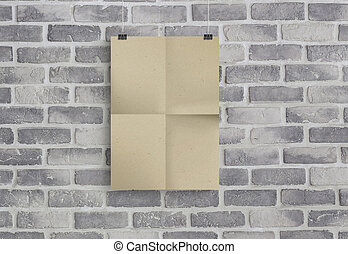 3D illustration of kraft paper isolated on old grey brick wall