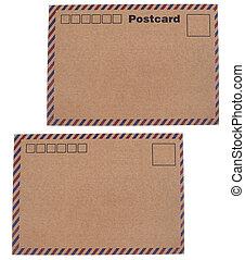 Kraft paper postcards - Isolated white background of kraft ...