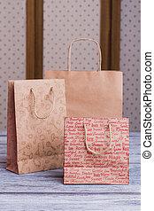 Kraft paper shopping bags.