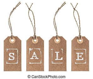 Kraft paper tag with string. SALE concept