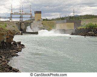 kraftstation, hydro-electric, väga, liten