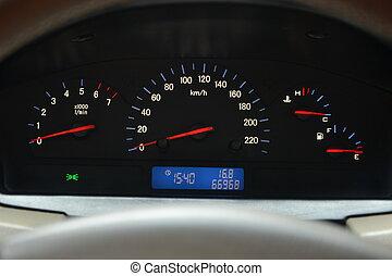 kraftstoff, tachometer, geschwindigkeitsmesser, temperatur, wasserwaage