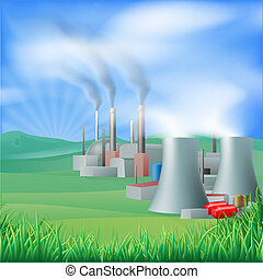 kraftverk, energi, generation, illus