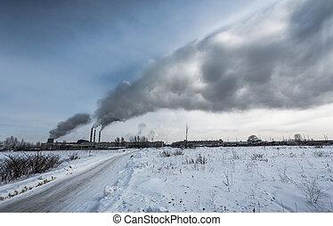 kraftverk, pollutes, den, miljö