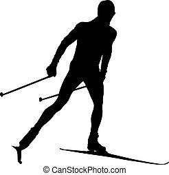 kraj, atleta, krzyż, narciarz