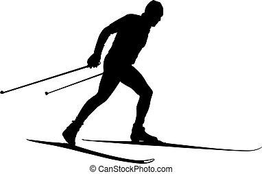 kraj, atleta, samiec, krzyż, narciarz