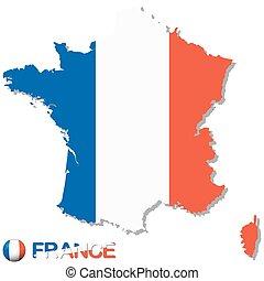 kraj, krajowy, sylwetka, kolor, francja