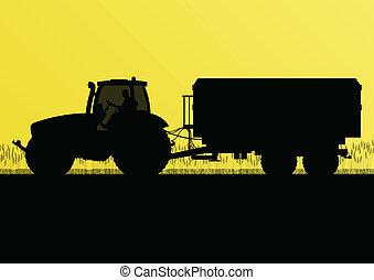 kraj, nagniotek, ilustracja, pole, wektor, ziarno, traktor, ...