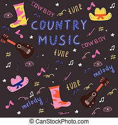 kraj, set., muzyka, doodle