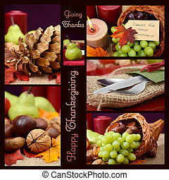 kraj, styl, wiejski, dziękczynienie, stół umieszczenie, collage.