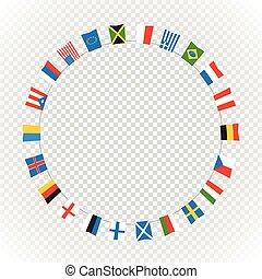 kraje, kolor, przeźroczysty, tło., wektor, bandery, koło, skład, differemt