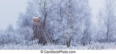 krajina, dřevěný, slepý, sněžit, zima, honba