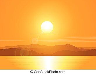 krajina, range., západ slunce, hora, nad