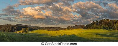 krajina, západ slunce, překrásný