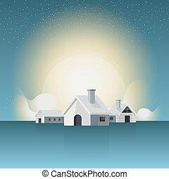 krajobraz., atmosfera, zima, domy, nature., scena, tło., home.