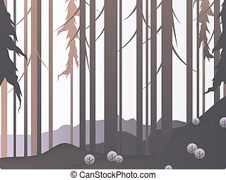 krajobraz, brązowy, krajobraz, atmosfera, sosna las