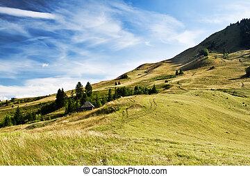 krajobraz., dramatyczny, górki, niebo, kraj, piękny