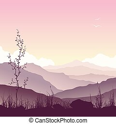 krajobraz, drzewo, trawa, góra