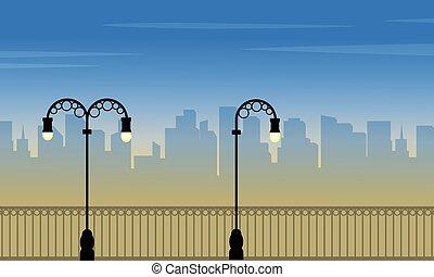krajobraz, kandelabr, z, miasto, tło, od, sylwetka