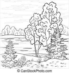 krajobraz., las, rzeka, szkic