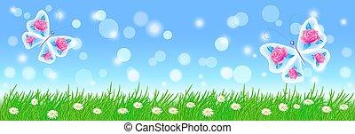 krajobraz, lato, kwiaty, wróżka, zielony, motyle, trawa, łąka