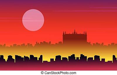 krajobraz, miasto, wektor, londyn, ilustracja