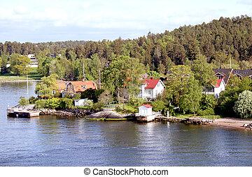 krajobraz, na, sztokholm, archipelag