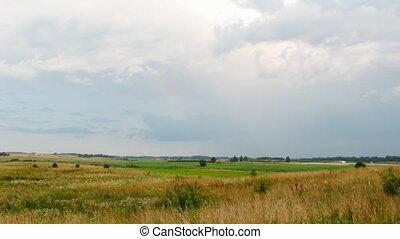 krajobraz, niebo, deszcz, timelapse