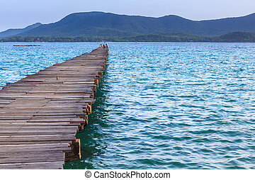 krajobraz, od, lesisty, most, molo