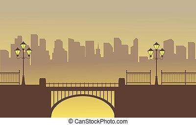 krajobraz, od, most, z, miasto, tło