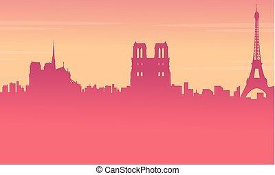 krajobraz, od, paryż, miasto, sylwetka, tło