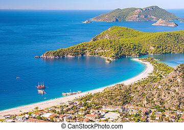 krajobraz, plaża, prospekt, morze, oludeniz, laguna
