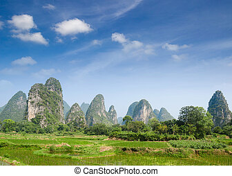 krajobraz, porcelana, guilin, yangshuo, typowy