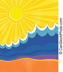 krajobraz., poster., ilustracja, wektor, morze, fale