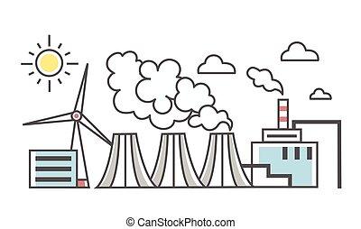 krajobraz., różny, przemysłowy, moc, ilustracja, roślina, odizolowany, wektor, white., typy, kreska, plants., styl, plant., wiatr, cienki