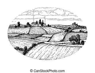 krajobraz., rys, pociągnięty, ręka, atrament, wiejski