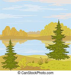 krajobraz., rzeka, las