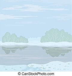 krajobraz., rzeka, zima, las