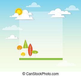 krajobraz, słoneczny dzień, drzewa