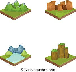 krajobraz., styl, komplet, góry, symbol, ikony, web., isometric, ilustracja, trzęsie się, wektor, zbiór, pień, rysunek, góry, ulga
