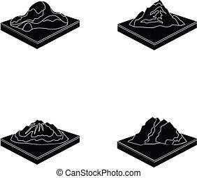 krajobraz., styl, komplet, góry, symbol, ikony, web., isometric, ilustracja, trzęsie się, wektor, czarnoskóry, zbiór, pień, góry, ulga