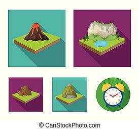krajobraz., styl, komplet, góry, symbol, ikony, web., isometric, ilustracja, trzęsie się, wektor, płaski, zbiór, pień, góry, ulga