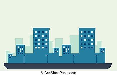 krajobraz, sylwetka, od, miasto, z, kandelabr, vector.night, miasto, skyline., miejski krajobraz, ilustracja