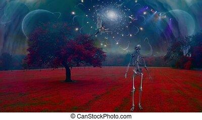 krajobraz, szkielet, surrealistyczny