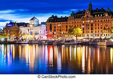krajobraz, sztokholm, wieczorny, szwecja