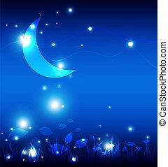 krajobraz, w nocy, z, księżyc