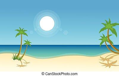 krajobraz, wektor, plaża, ilustracja