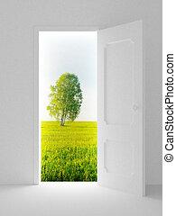 krajobraz, za, przedimek określony przed rzeczownikami, otwarty, door., 3d, wizerunek